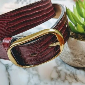 Vintage Croc Embossed Leather Belt Burgundy Red